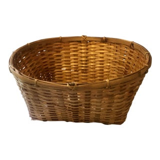 Vintage Rattan and Bamboo French Handwoven Storage Basket For Sale