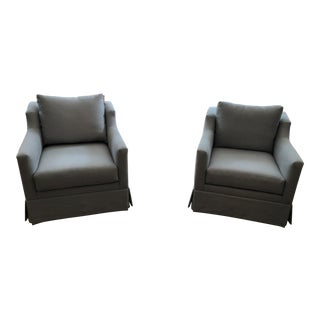 Modern Mitchell Gold+Bob Williams, Blue Linen Swivel Chairs- A Pair For Sale