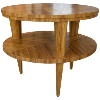 Art Deco Revival Center Table in Exotic Zebrano Wood For Sale