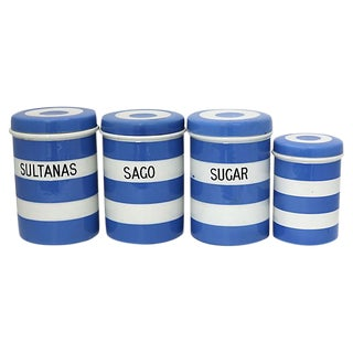 Vintage English Cornishware Kitchen Canisters, S/4 For Sale
