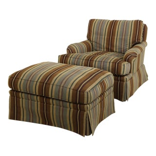 Vanguard Upholstered Chair & Ottoman For Sale