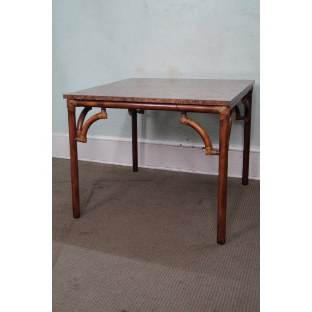 Bamboo Square Table: Vintage Square Rattan Bamboo Kitchen Table
