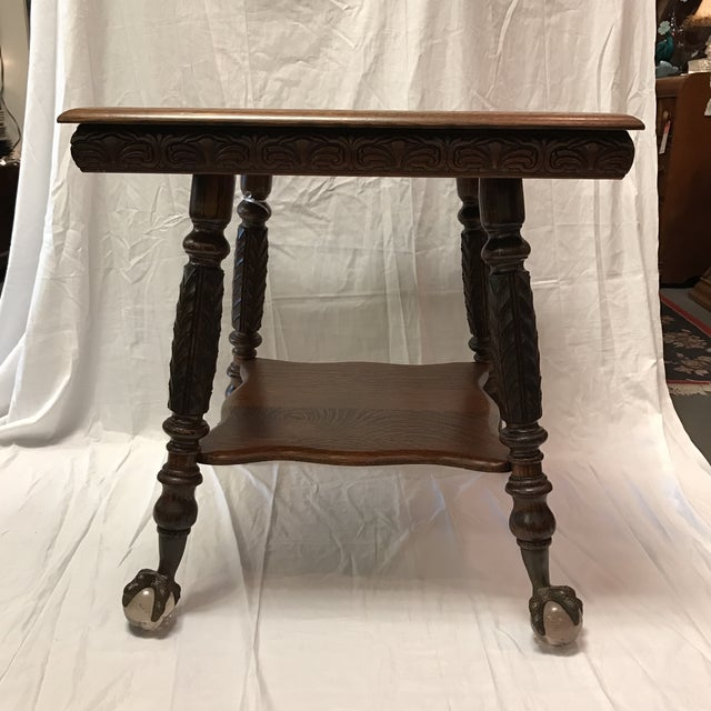 Antique Claw Foot Oak Table - Image 3 of 5