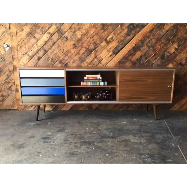 Mid-Century Colorblock Credenza For Sale - Image 4 of 5