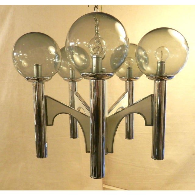 Vintage Modern Chandelier W/ Smoked Glass For Sale In New York - Image 6 of 6