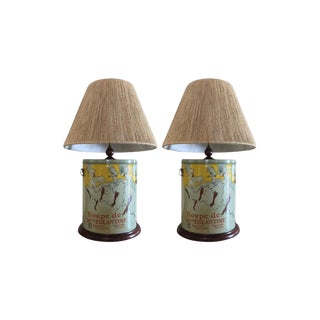 Custom French Inspired Tin Lamps - a Pair For Sale