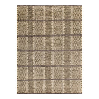 Solo Rugs Grit and Ground Collection Contemporary Stockholm Hand-Knotted Area Rug, Gray, 9' X 12' For Sale