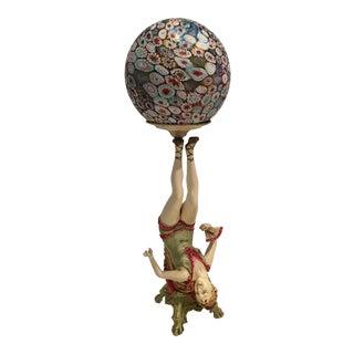 Art Deco Lady Dancer Millefiori Globe Lamp