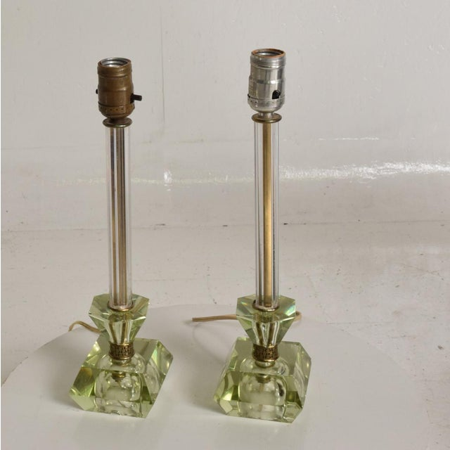 For your consideration, a pair of Crystal Table Lamps with light Green Color. Made in the USA circa the 1950s. No...