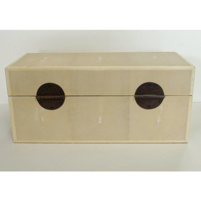 Fabio Ltd Ivory Shagreen Wood Box by Fabio Ltd For Sale - Image 4 of 6