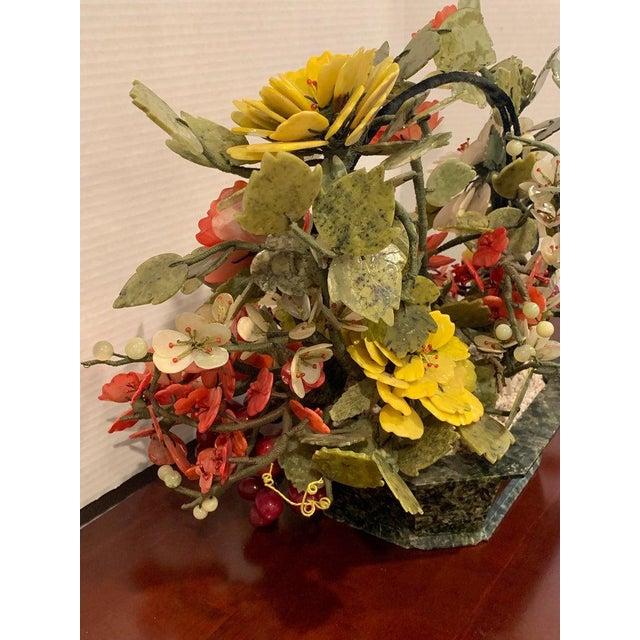 Dark Green Vintage Chinese Export Hardstone Basket Floral Arrangement For Sale - Image 8 of 13