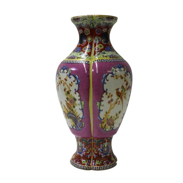 Asian Chinese Purple Porcelain Vase For Sale - Image 3 of 6
