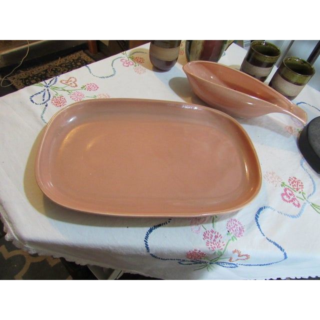 Vintage Russel Wright Coral Pink Gravy Boat & Platter Coral - 2 Pieces For Sale - Image 9 of 13