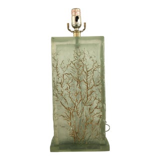 Light Green Resin Lamp With Tree Motif For Sale
