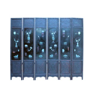 Vintage Jade Color Hardstone Inlaid Flowers Animals Wood Screen 6 Panels For Sale