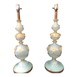 Blue With White Floral Accents Vintage Venetian Glass Lamps - a Pair For Sale