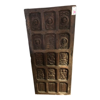 17th Century English Hand Carved Dark Oak Door For Sale