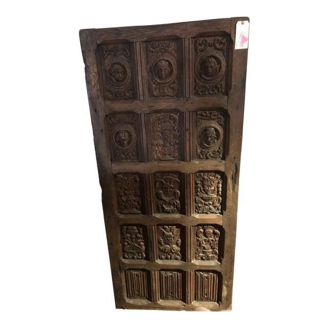17th Century English Hand Carved Dark Oak Door For Sale
