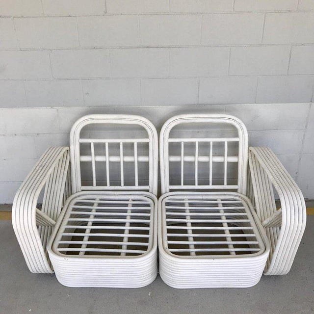 Rattan Two Rattan Sofa Frames by Paul Frankl, in Dove White For Sale - Image 7 of 13
