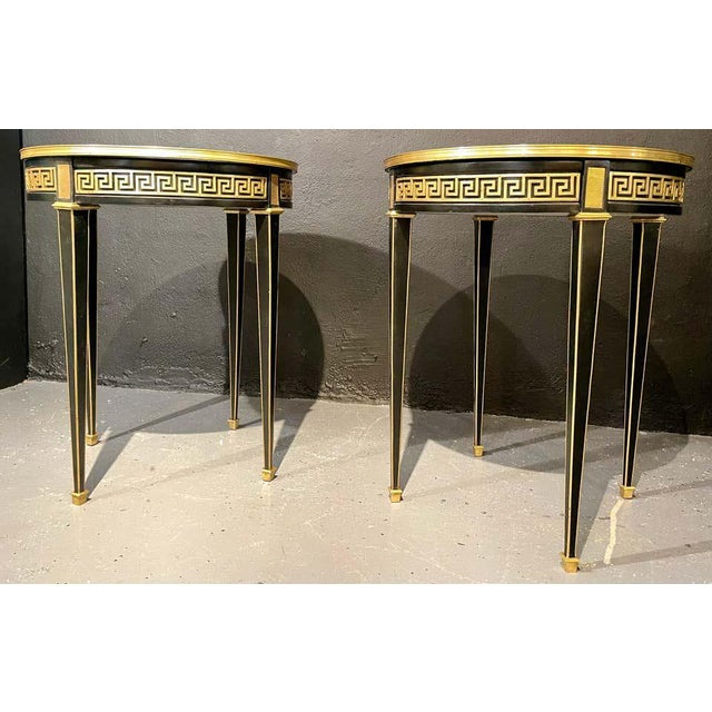Jansen Style Bouliotte / End Tables Bronze Mounted - a Pair For Sale - Image 11 of 13