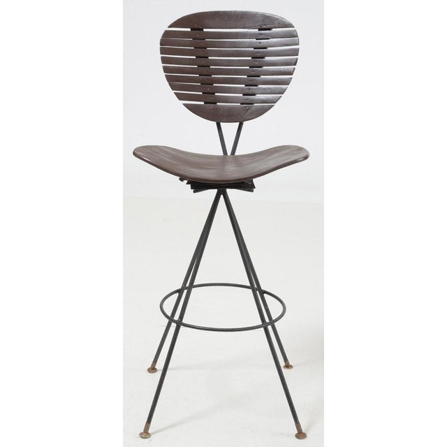 Mid-Century Modern Wood and Wrought Iron Bar Stools - Set of 3 For Sale In Atlanta - Image 6 of 12