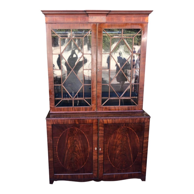 Early 19c Antique English Regency Mahogany Secretary Bookcase For Sale