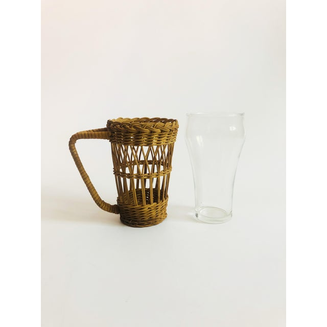 Late 20th Century Vintage Tall Glasses in Wicker Holders - Set of 2 For Sale - Image 5 of 6