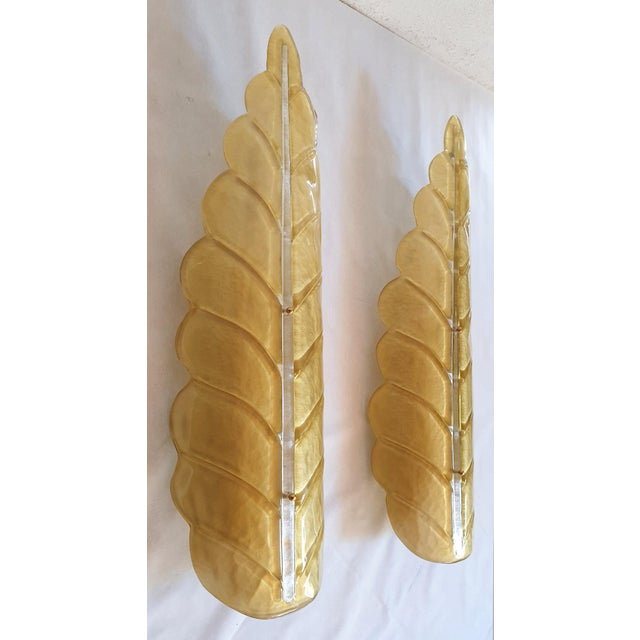 Pair of Large Leaf Murano Glass Mid Century Modern Sconces by Barovier, 1970s For Sale - Image 10 of 11