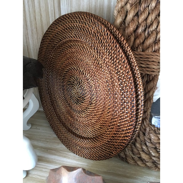 Boho Chic Woven Rattan Round Trays, A Pair For Sale - Image 3 of 4