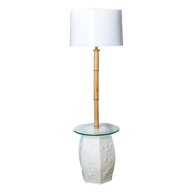 Fabulous custom made floor lamps, white ceramic garden stools reinvented into a pair floor lamps. Natural Bamboo shaft and...