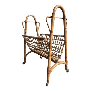 1970s Vintage Bentwood Rattan Magazine Rack For Sale
