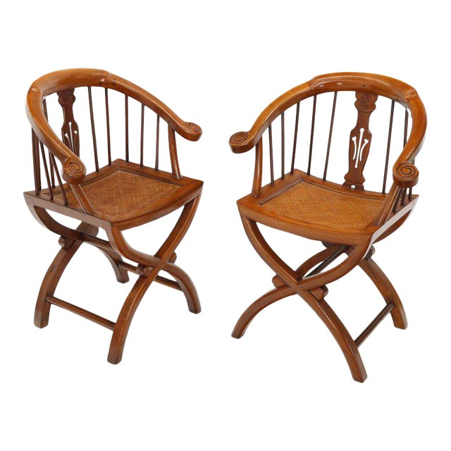 1970s Teak Horseshoe Back Lounge Chairs - a Pair For Sale