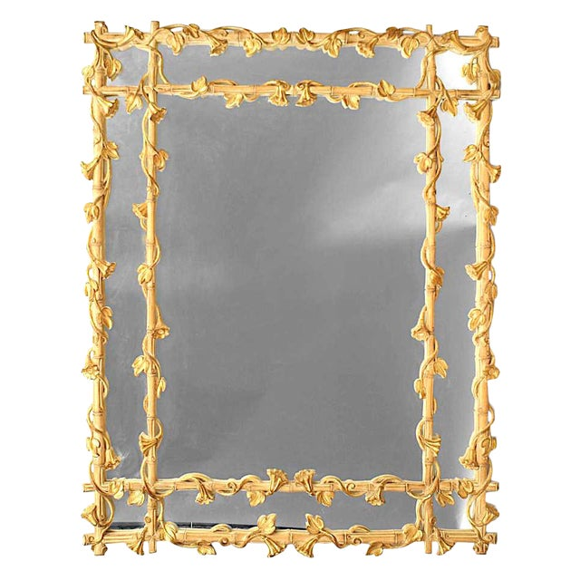 Stripped Faux Bamboo Wall Mirror For Sale - Image 4 of 4