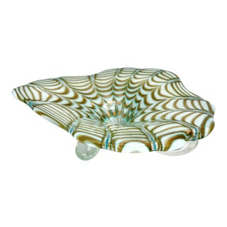 Large Mid-Century Aventurine Cased Murano Art Glass Centerpiece Bowl For Sale