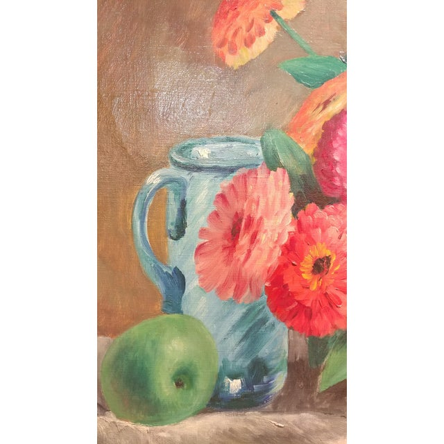 Frode Dann Still Life of Dahlias Oil Painting, 1942 For Sale - Image 4 of 10