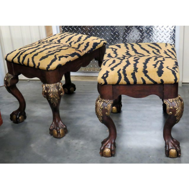 Georgian Style Tiger Print Upholstered Benches - a Pair For Sale In Philadelphia - Image 6 of 6