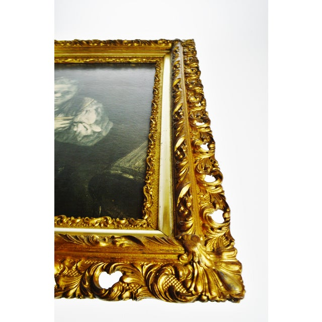 Antique Gilt Framed Rembrandt Girl With a Broom Textured Print on Panel For Sale - Image 4 of 13