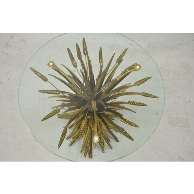 Vintage Italian Hollywood Regency Gold Gilt Iron Metal Wheat Sheaf Small Side Table For Sale In Philadelphia - Image 6 of 13