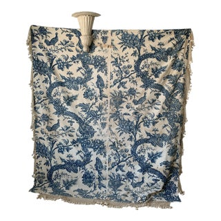 Antique Bromley Hall 1775 Blue Indienne Bedding Set 18th English Rare Curtains For Sale