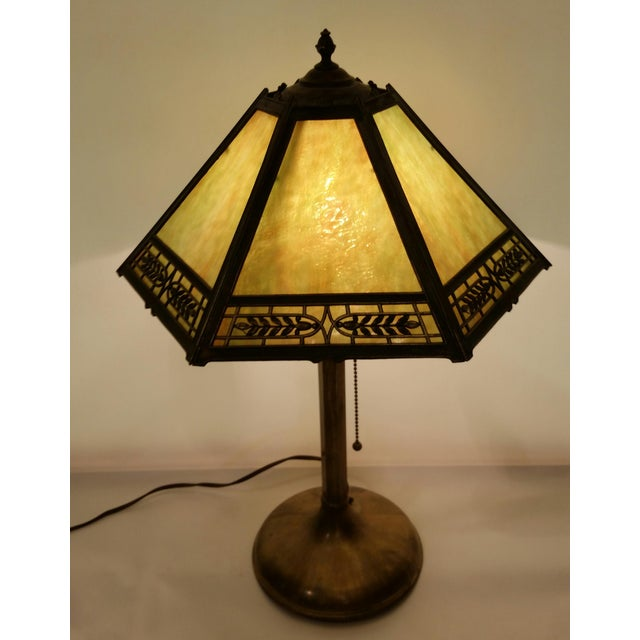 This piece is a vintage Pilabrasgo 1920's PL&B Co Pittsburgh Art Nouveau rare table lamp in working order. Beautiful slag...