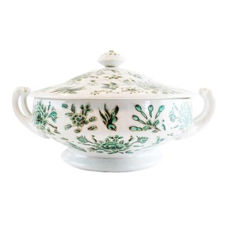 Green and White Covered Dish For Sale