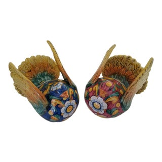 Italian Hand Painted Majolica Pottery Doves Figurines - a Pair For Sale