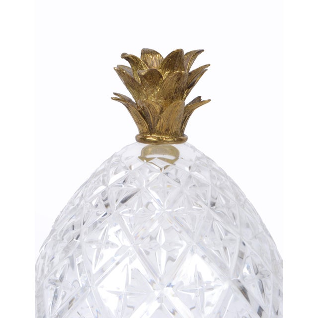 Mid-Century Modern Maitland-Smith Bronze and Crystal Pineapple Ornaments, Germany, a Pair For Sale - Image 3 of 9
