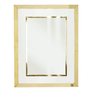 1970s Signed j.c. Mahey Wall Mirror in White Lacquer and Brass For Sale