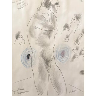 """1990s Figurative Drawing, """"Voyeurs"""" Male Nude Collage by James Frederic Bone For Sale"""