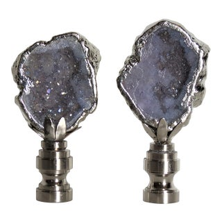 Violet Gemstone Finials in Sterling Silver. by C. Damien Fox - a Pair For Sale