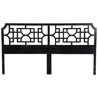 1970s Vintage Chinoiserie King Size Fretwork Headboard For Sale