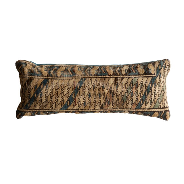 Textile Reclaimed Vintage Caucasian Rug Lumbar Pillow For Sale - Image 7 of 7