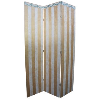 French Neoclassical Style Striped Room Divider Dressing Privacy Folding Screen For Sale