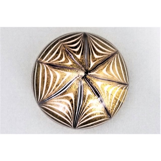 1950s Murano Glass Gold White and Black Fenicio Paperweight - Italy Mid Century Modern Minimalist Palm Beach Boho Chic Italian Venetian Sommerso For Sale - Image 12 of 13